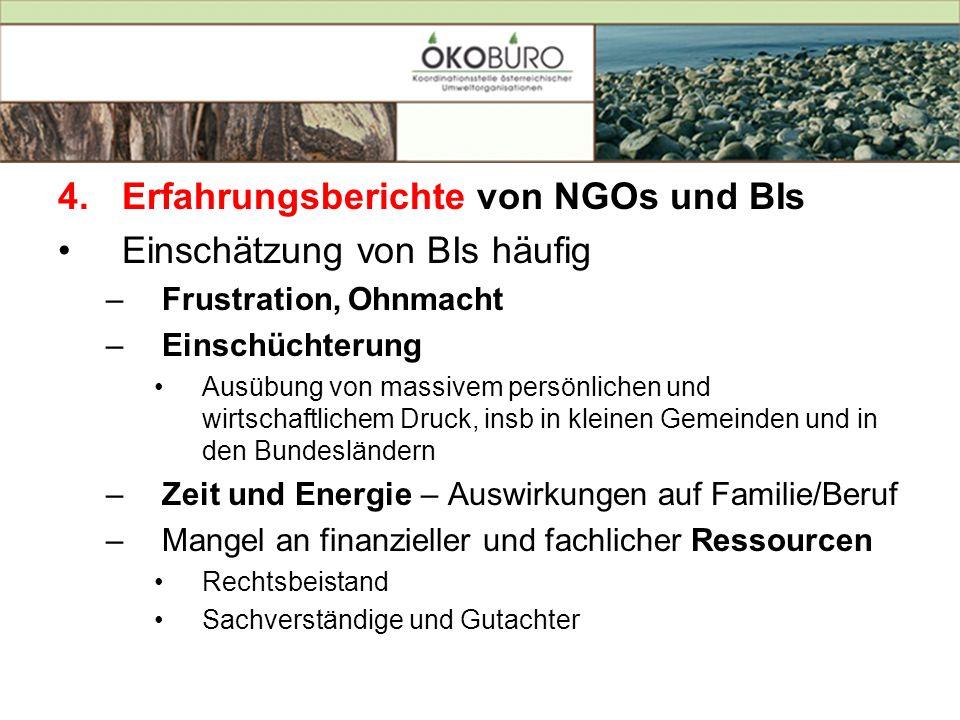 Erfahrungsberichte von NGOs und BIs Einschätzung von BIs häufig