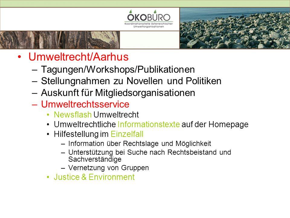 Umweltrecht/Aarhus Tagungen/Workshops/Publikationen