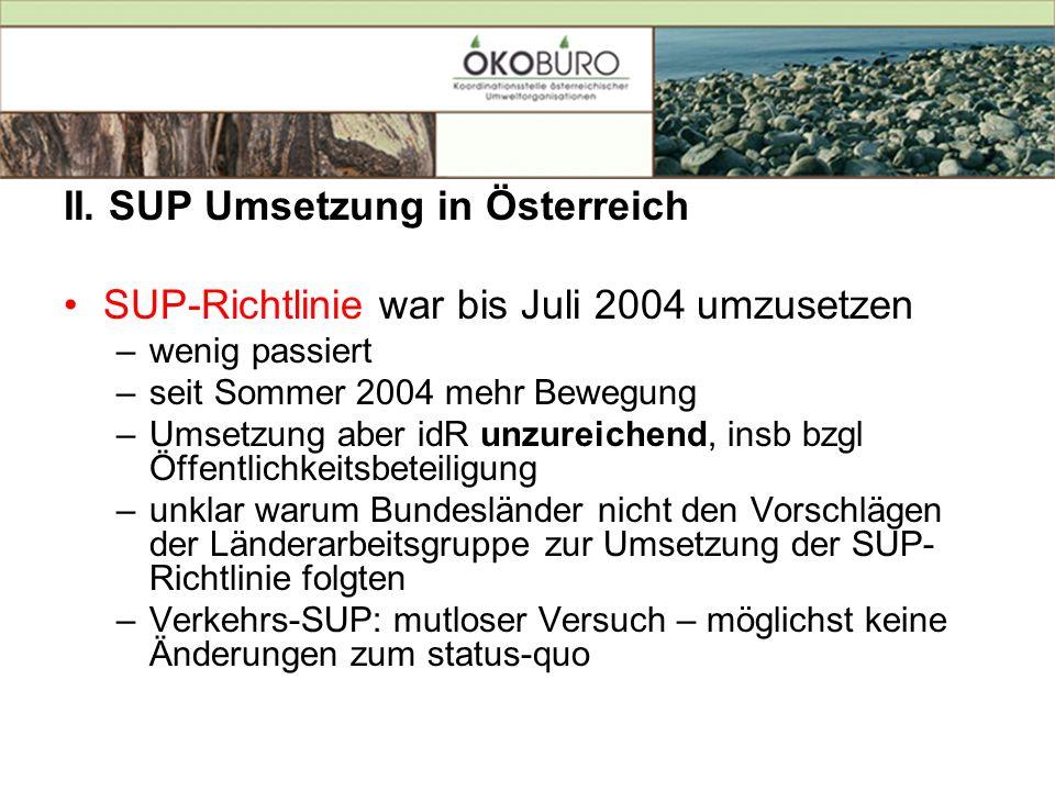 II. SUP Umsetzung in Österreich