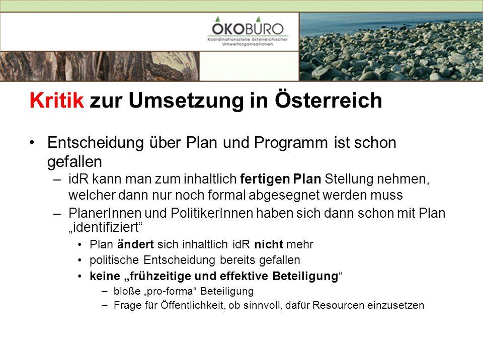 Kritik zur Umsetzung in Österreich