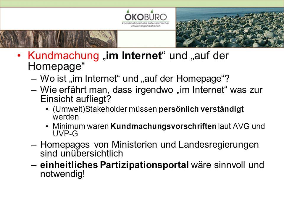 """Kundmachung """"im Internet und """"auf der Homepage"""