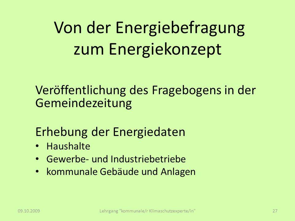 Von der Energiebefragung zum Energiekonzept