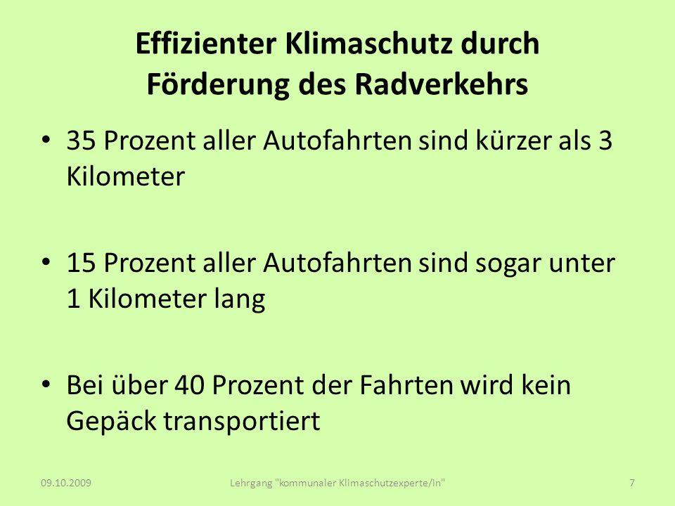 Effizienter Klimaschutz durch Förderung des Radverkehrs