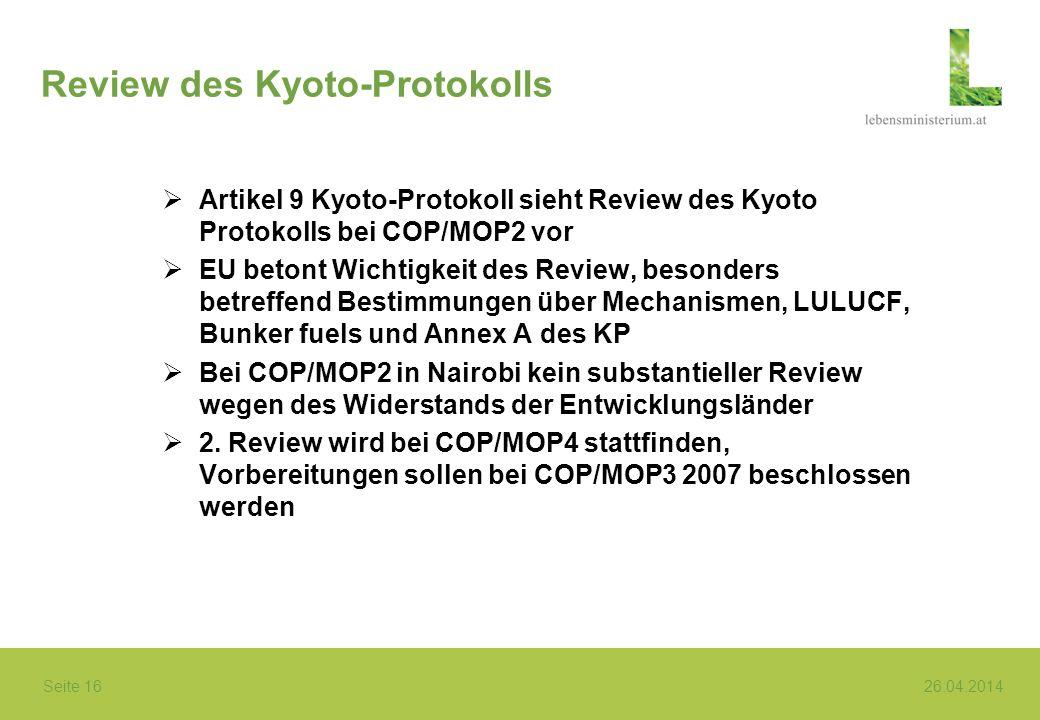 Review des Kyoto-Protokolls