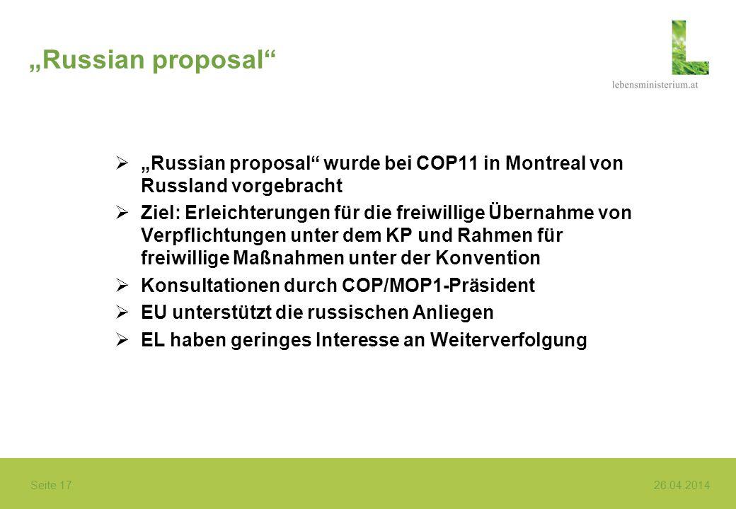 """""""Russian proposal """"Russian proposal wurde bei COP11 in Montreal von Russland vorgebracht."""