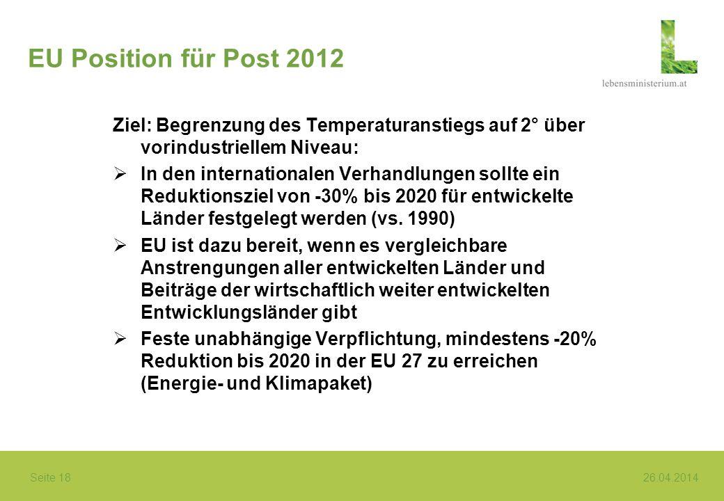 EU Position für Post 2012 Ziel: Begrenzung des Temperaturanstiegs auf 2° über vorindustriellem Niveau: