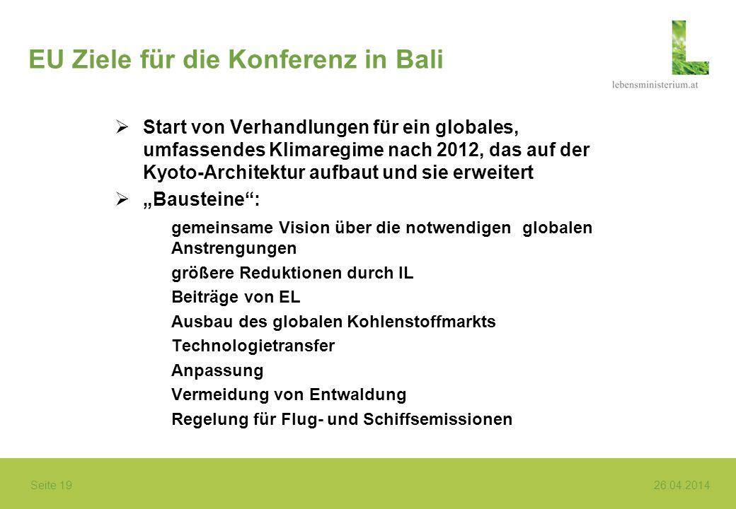 EU Ziele für die Konferenz in Bali