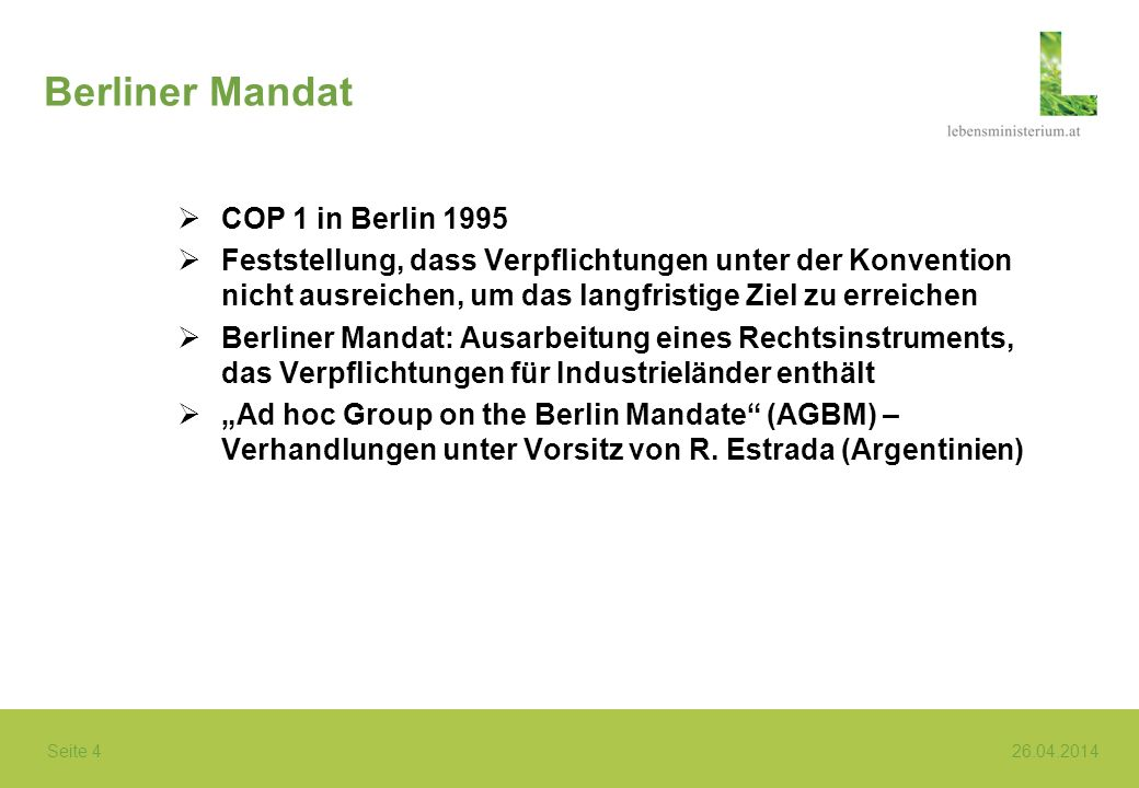 Berliner Mandat COP 1 in Berlin 1995