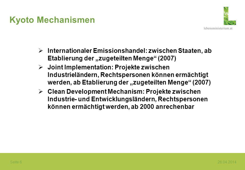 """Kyoto Mechanismen Internationaler Emissionshandel: zwischen Staaten, ab Etablierung der """"zugeteilten Menge (2007)"""