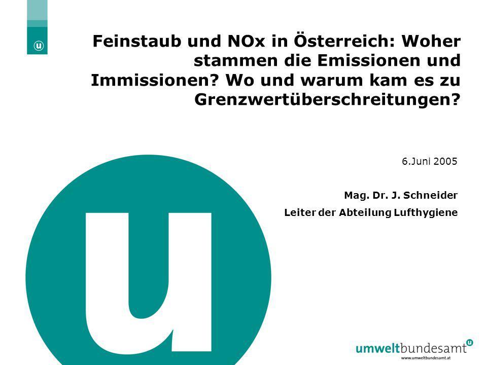 Feinstaub und NOx in Österreich: Woher stammen die Emissionen und Immissionen Wo und warum kam es zu Grenzwertüberschreitungen