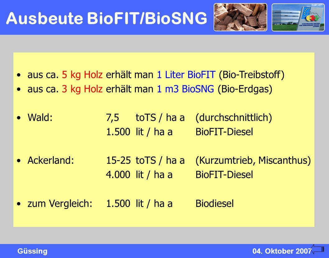 Ausbeute BioFIT/BioSNG