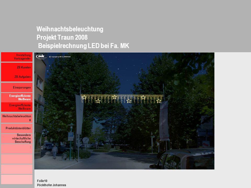 Weihnachtsbeleuchtung Projekt Traun 2008 Beispielrechnung LED bei Fa