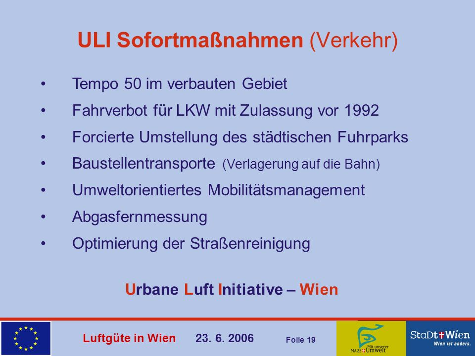 ULI Sofortmaßnahmen (Verkehr)