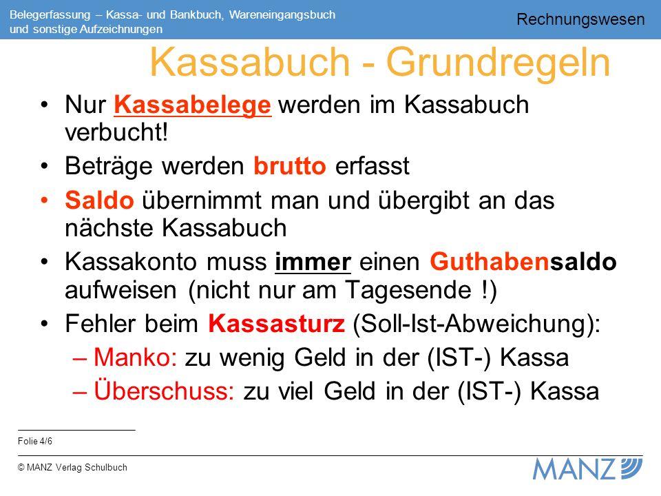 Kassabuch - Grundregeln