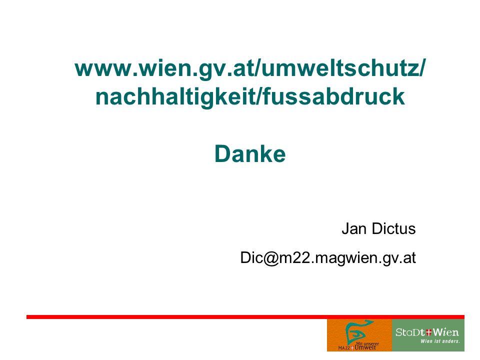 www.wien.gv.at/umweltschutz/ nachhaltigkeit/fussabdruck Danke