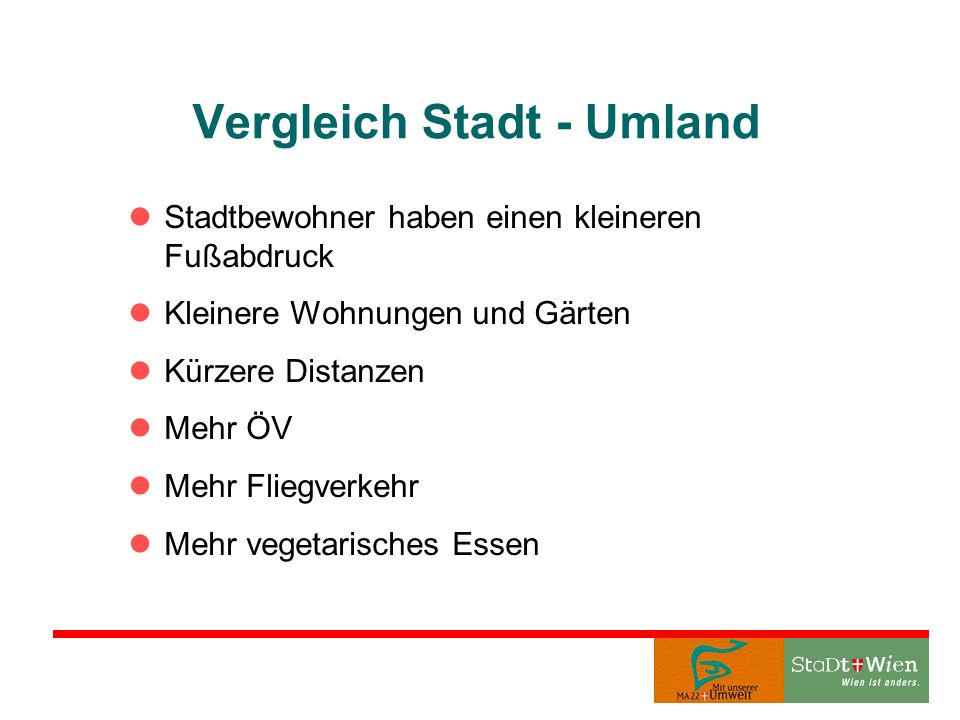 Vergleich Stadt - Umland