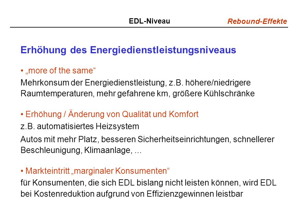 Erhöhung des Energiedienstleistungsniveaus
