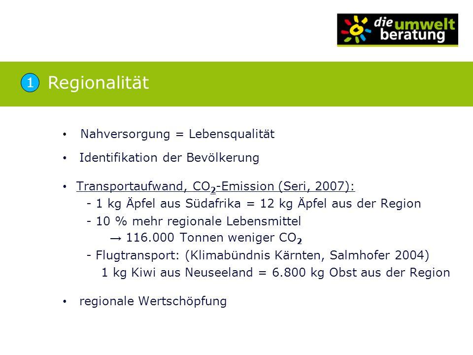 Regionalität 1 Nahversorgung = Lebensqualität