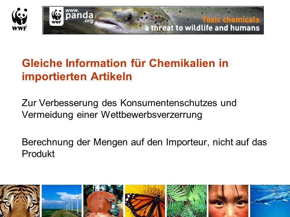 Gleiche Information für Chemikalien in importierten Artikeln