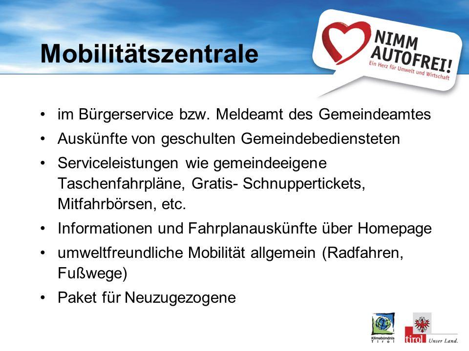 Mobilitätszentrale im Bürgerservice bzw. Meldeamt des Gemeindeamtes