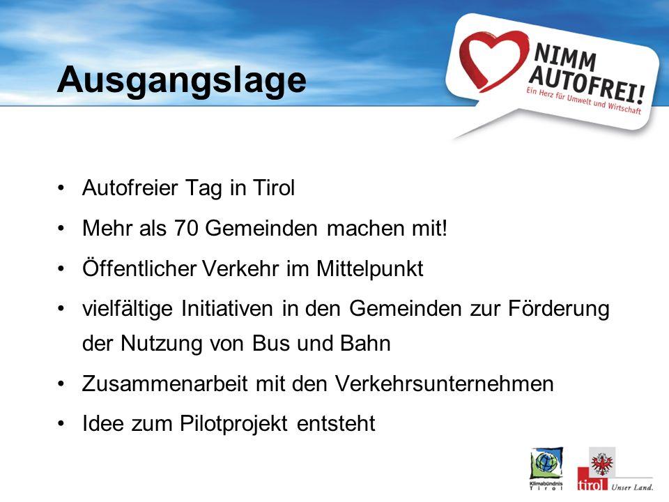Ausgangslage Autofreier Tag in Tirol Mehr als 70 Gemeinden machen mit!