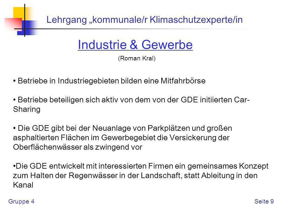 "Industrie & Gewerbe Lehrgang ""kommunale/r Klimaschutzexperte/in"