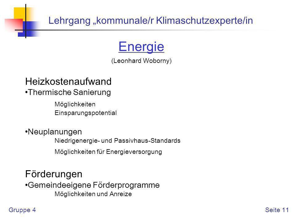 """Energie Lehrgang """"kommunale/r Klimaschutzexperte/in Heizkostenaufwand"""
