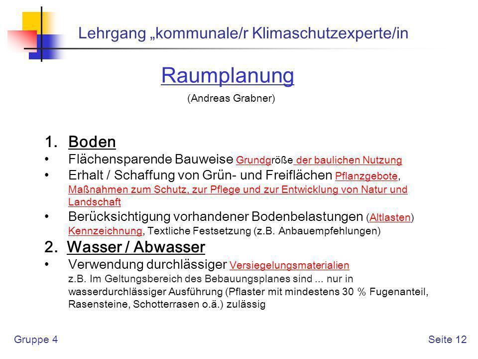 """Raumplanung Lehrgang """"kommunale/r Klimaschutzexperte/in Boden"""
