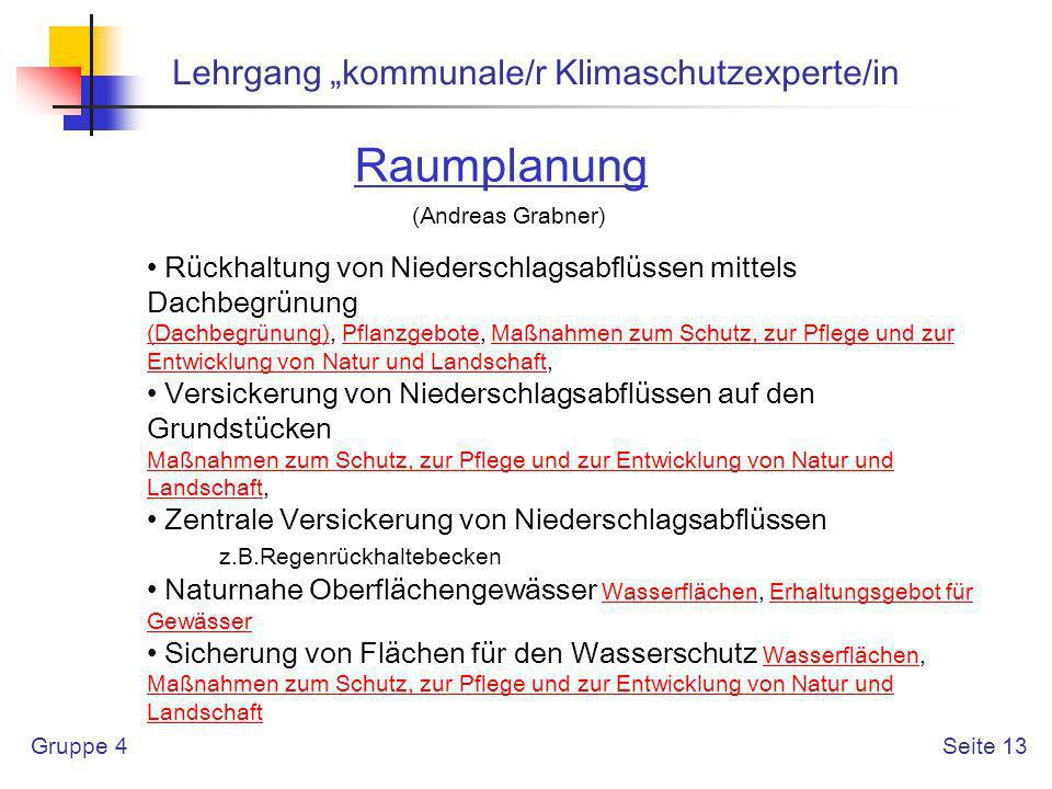 "Raumplanung Lehrgang ""kommunale/r Klimaschutzexperte/in"