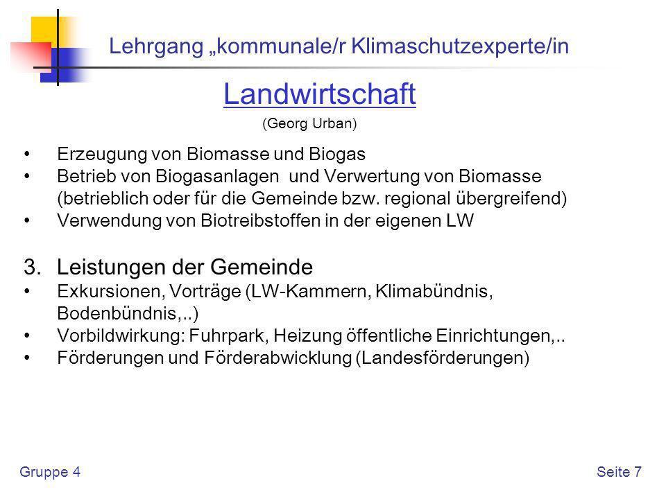 """Landwirtschaft Lehrgang """"kommunale/r Klimaschutzexperte/in"""
