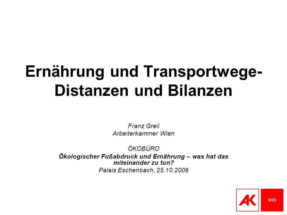 Ernährung und Transportwege- Distanzen und Bilanzen