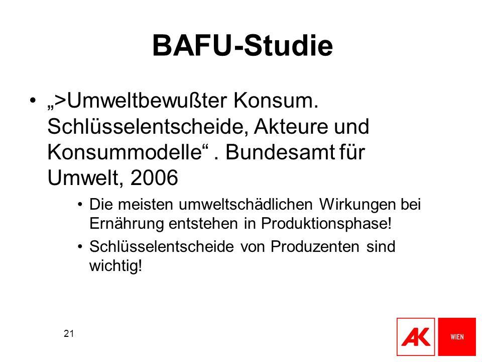 """BAFU-Studie """">Umweltbewußter Konsum. Schlüsselentscheide, Akteure und Konsummodelle . Bundesamt für Umwelt, 2006."""