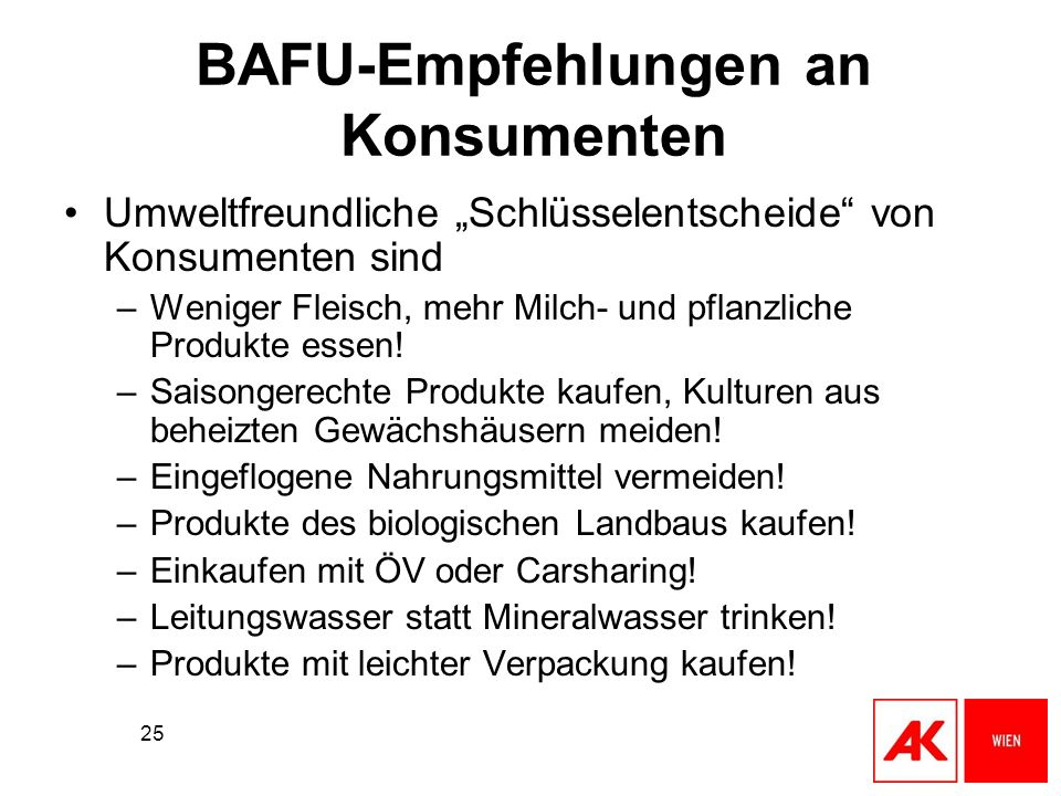 BAFU-Empfehlungen an Konsumenten