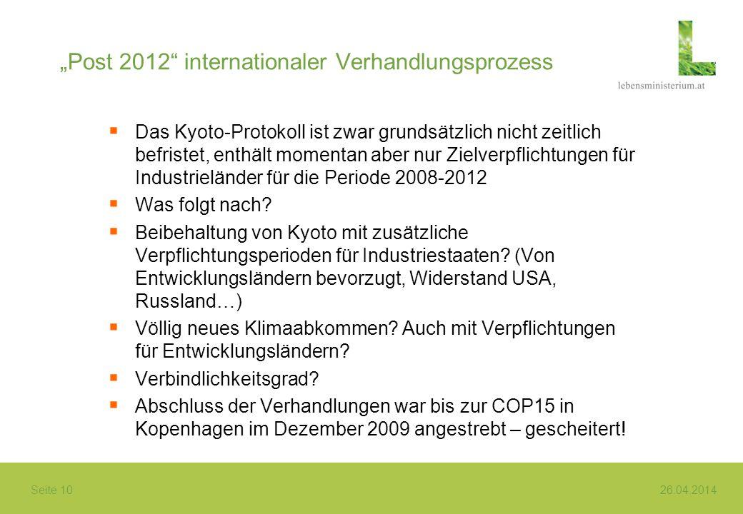 """""""Post 2012 internationaler Verhandlungsprozess"""