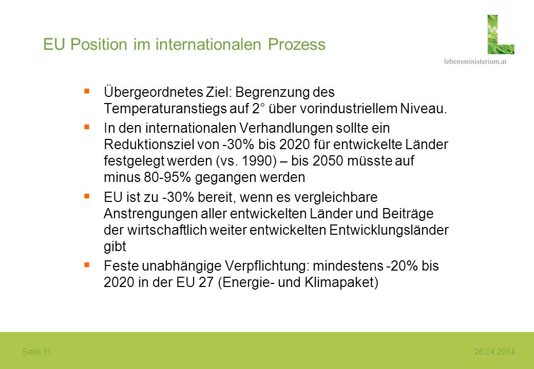 EU Position im internationalen Prozess