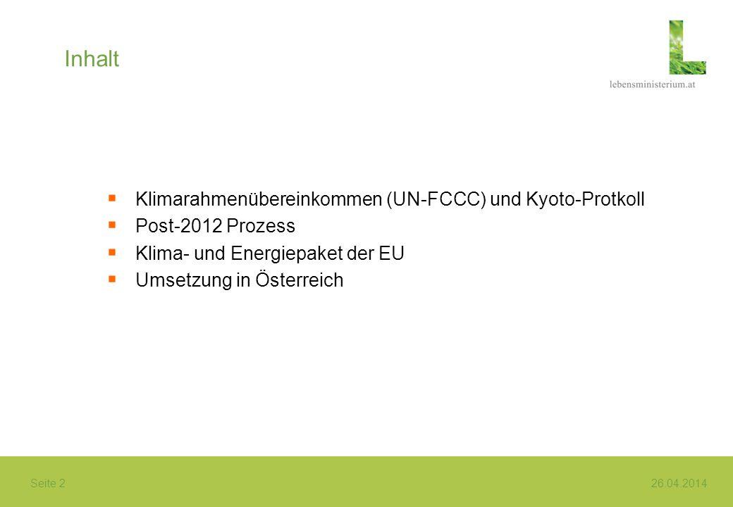Inhalt Klimarahmenübereinkommen (UN-FCCC) und Kyoto-Protkoll