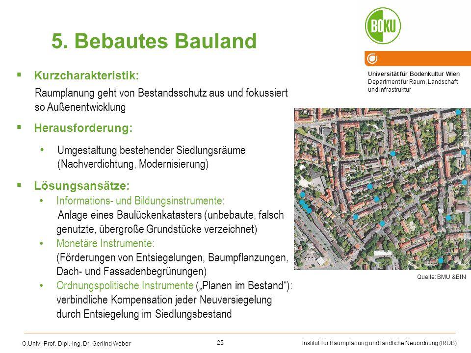 5. Bebautes Bauland Kurzcharakteristik: