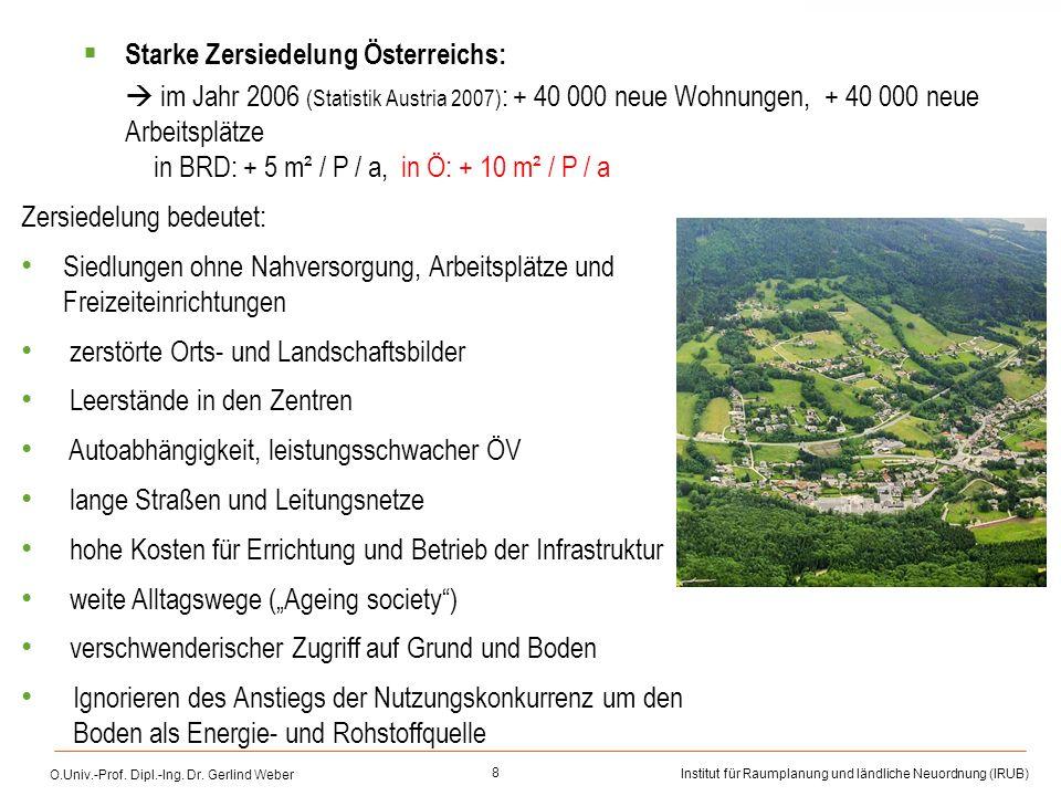 Starke Zersiedelung Österreichs: