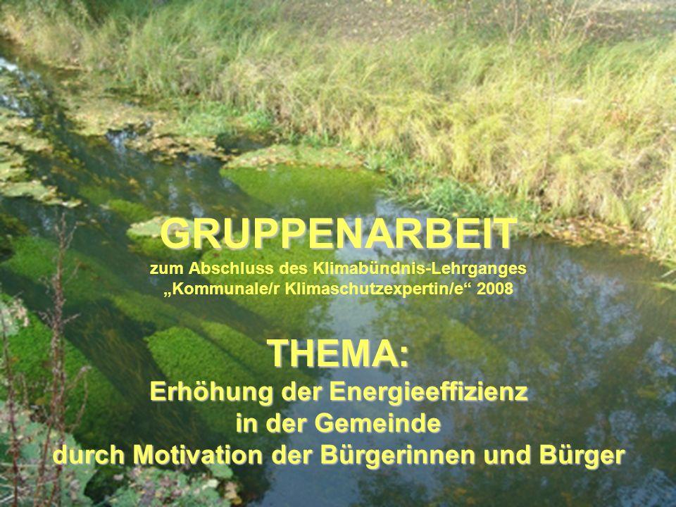 """GRUPPENARBEIT zum Abschluss des Klimabündnis-Lehrganges """"Kommunale/r Klimaschutzexpertin/e 2008 THEMA: Erhöhung der Energieeffizienz in der Gemeinde durch Motivation der Bürgerinnen und Bürger"""