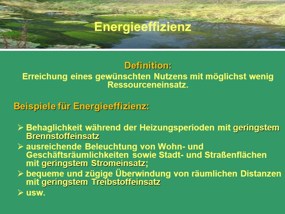 Energieeffizienz Definition: Erreichung eines gewünschten Nutzens mit möglichst wenig Ressourceneinsatz.