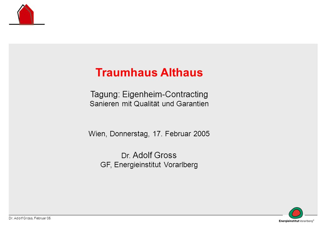Traumhaus Althaus Tagung: Eigenheim-Contracting