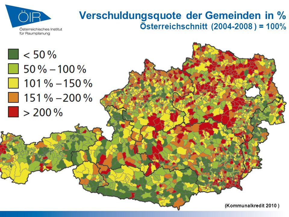 Verschuldungsquote der Gemeinden in % Österreichschnitt (2004-2008 ) = 100%
