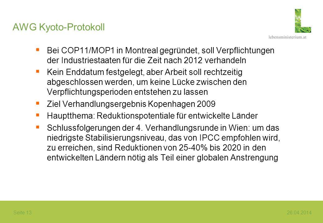 AWG Kyoto-Protokoll Bei COP11/MOP1 in Montreal gegründet, soll Verpflichtungen der Industriestaaten für die Zeit nach 2012 verhandeln.