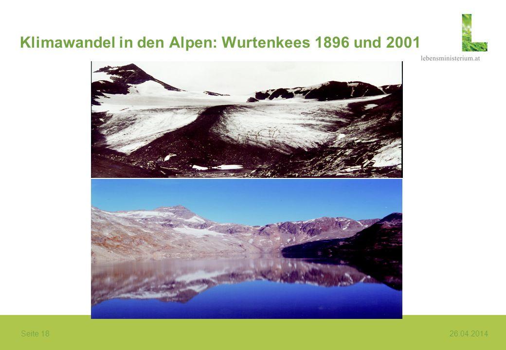 Klimawandel in den Alpen: Wurtenkees 1896 und 2001