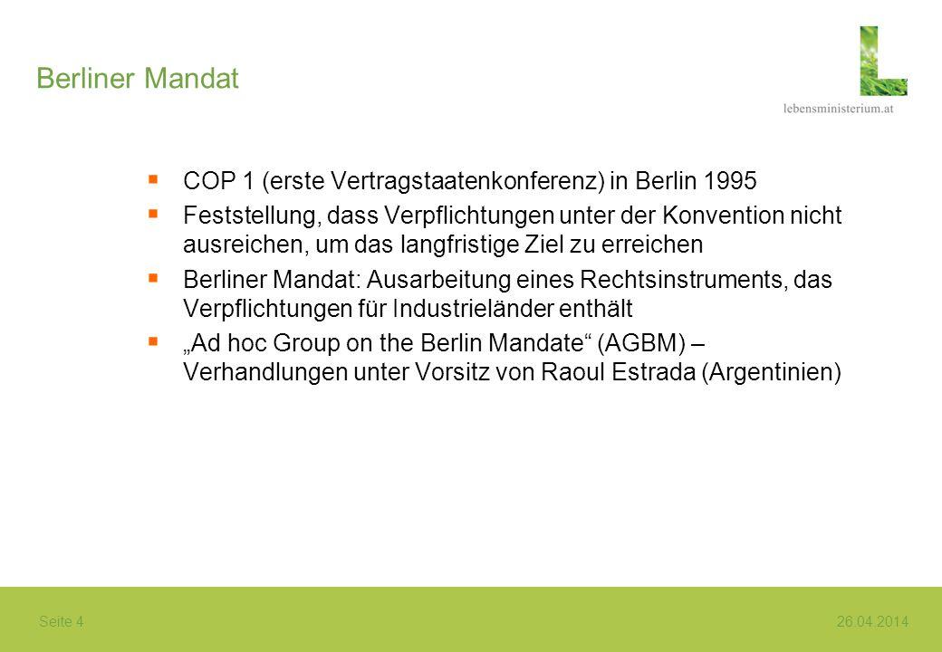 Berliner Mandat COP 1 (erste Vertragstaatenkonferenz) in Berlin 1995