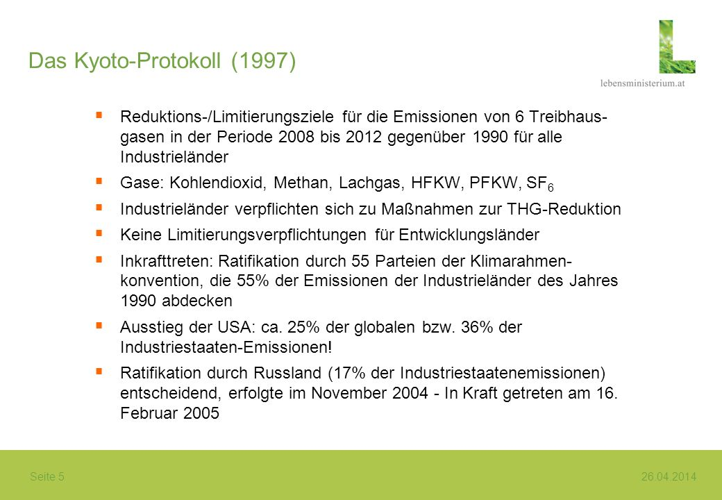 Das Kyoto-Protokoll (1997)