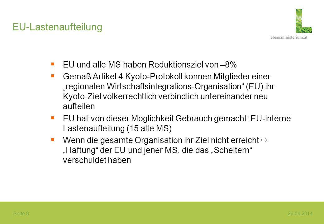 EU-Lastenaufteilung EU und alle MS haben Reduktionsziel von –8%