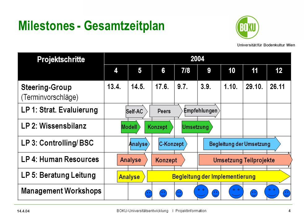 Milestones - Gesamtzeitplan