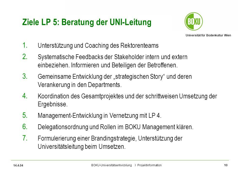 Ziele LP 5: Beratung der UNI-Leitung