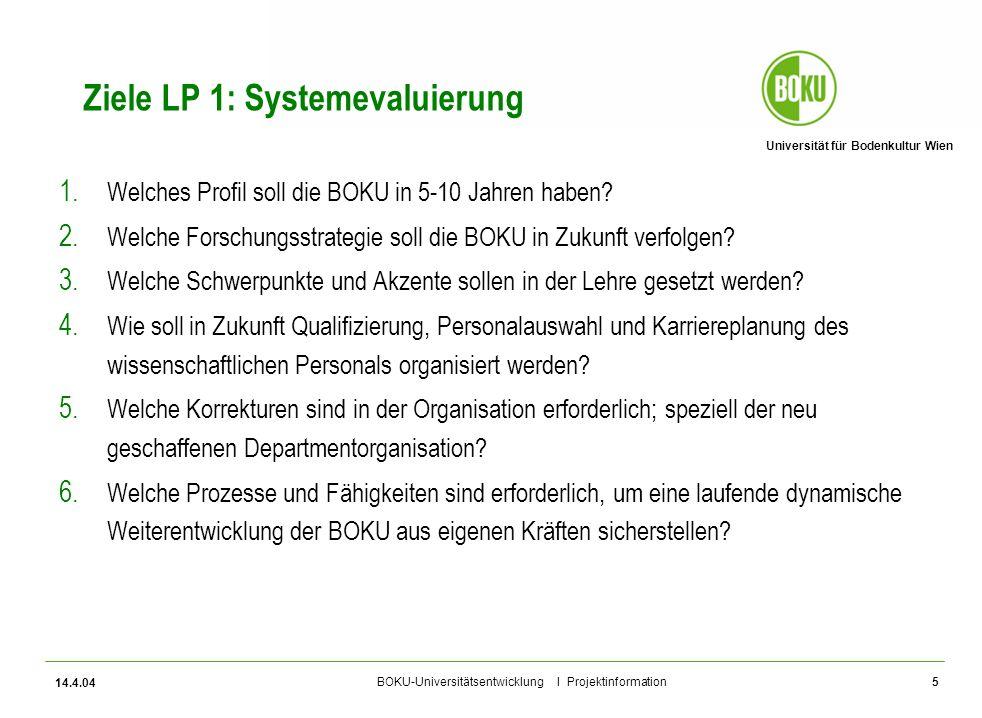 Ziele LP 1: Systemevaluierung